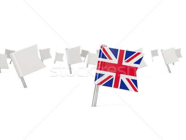 Square pin with flag of united kingdom Stock photo © MikhailMishchenko