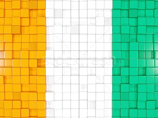 Background with square parts. Flag of cote d Ivoire. 3D illustra Stock photo © MikhailMishchenko