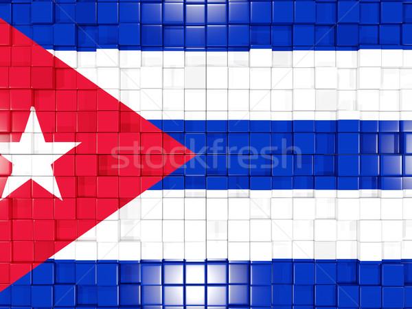 Kare bayrak Küba 3d illustration mozaik Stok fotoğraf © MikhailMishchenko