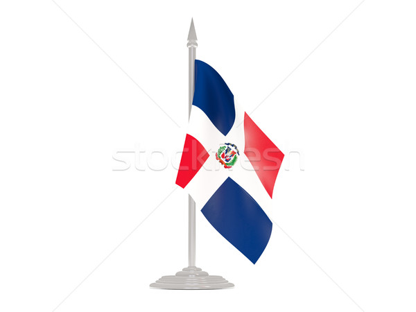 Flag of dominican republic with flagpole. 3d render Stock photo © MikhailMishchenko
