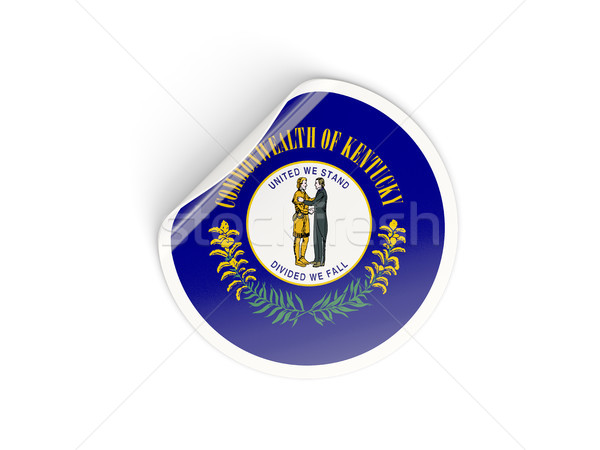Stock photo: Flag of kentucky, US state round sticker