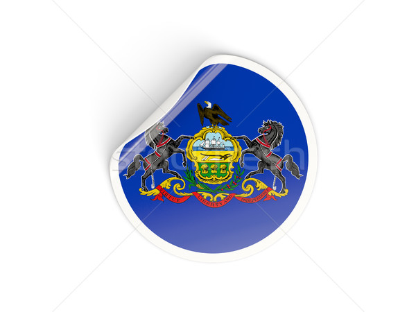 Flag of pennsylvania, US state round sticker Stock photo © MikhailMishchenko