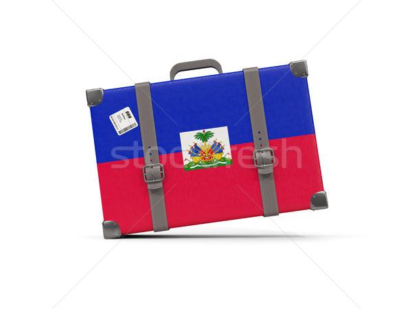 Bagaj bayrak Haiti bavul yalıtılmış beyaz Stok fotoğraf © MikhailMishchenko