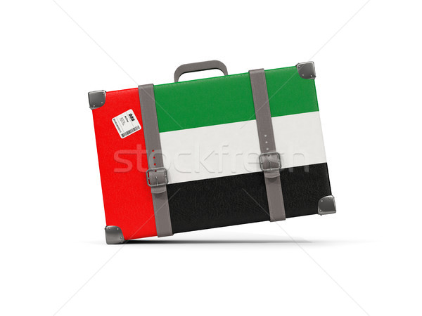 Камера флаг Объединенные Арабские Эмираты чемодан изолированный белый Сток-фото © MikhailMishchenko