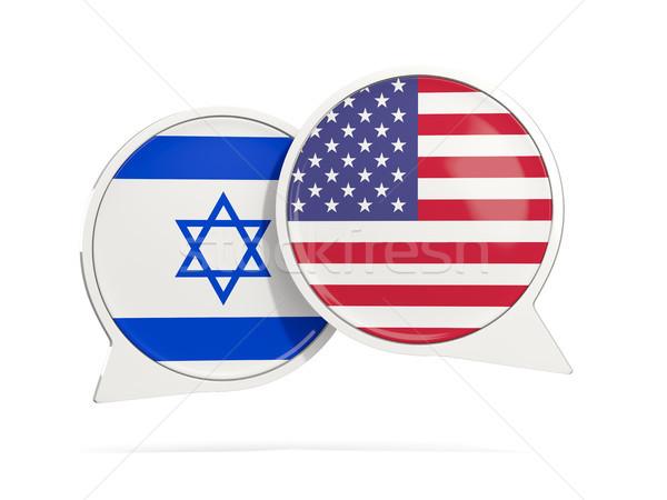 Chat Blasen Israel USA isoliert weiß Stock foto © MikhailMishchenko