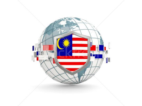 Globe and shield with flag of malaysia isolated on white Stock photo © MikhailMishchenko