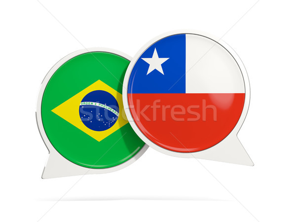 Chat buborékok Brazília Chile izolált fehér Stock fotó © MikhailMishchenko