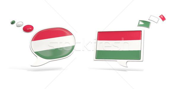 Dois conversar ícones bandeira Hungria praça Foto stock © MikhailMishchenko