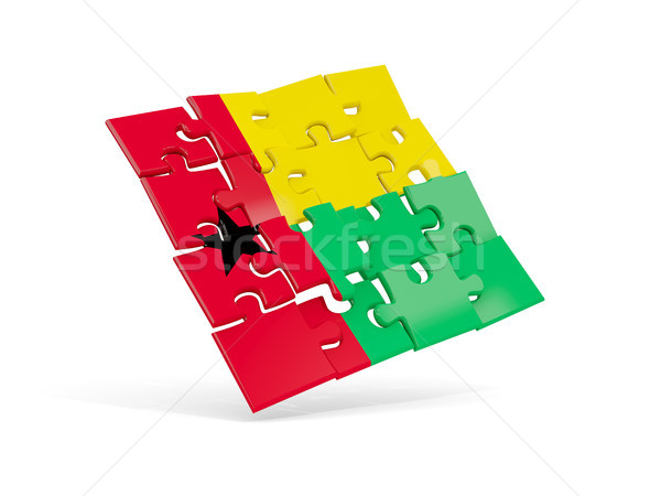 Puzzel vlag Guinea geïsoleerd witte 3d illustration Stockfoto © MikhailMishchenko