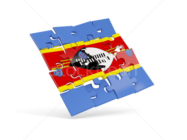 Puzzle flag of swaziland isolated on white Stock photo © MikhailMishchenko