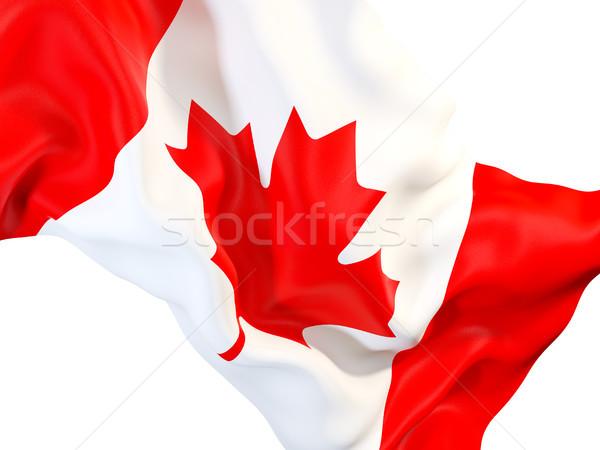 Foto stock: Bandeira · Canadá · ilustração · 3d · tecido