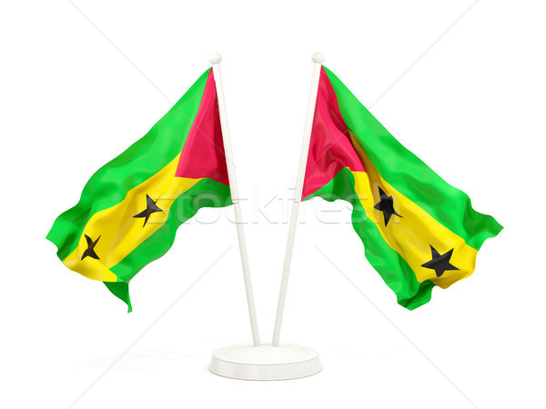 Two waving flags of sao tome and principe Stock photo © MikhailMishchenko