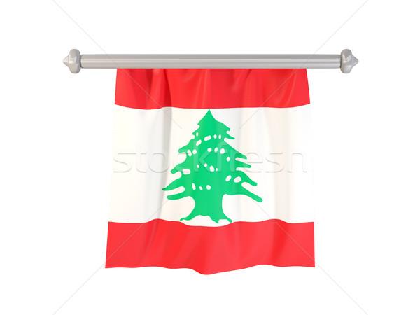 флаг Ливан изолированный белый 3d иллюстрации Label Сток-фото © MikhailMishchenko