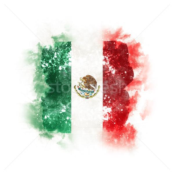 Placu grunge banderą Meksyk 3d ilustracji retro Zdjęcia stock © MikhailMishchenko