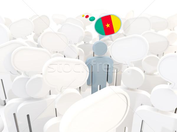 человека флаг Камерун толпа 3d иллюстрации знак Сток-фото © MikhailMishchenko