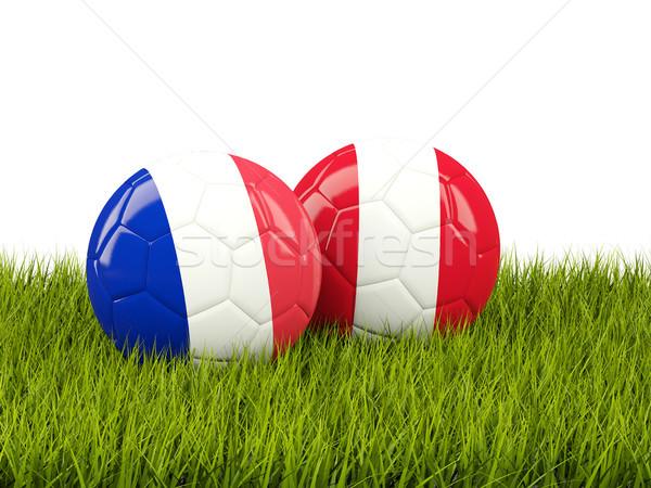 Francja vs Peru piłka nożna flagi zielone Zdjęcia stock © MikhailMishchenko