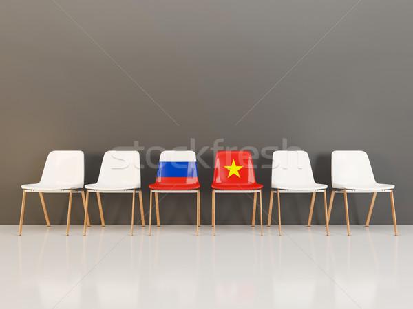 стульев флаг Россия Вьетнам 3d иллюстрации Сток-фото © MikhailMishchenko