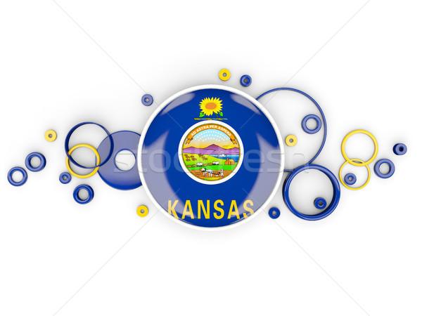 Round flag of kansas with circles pattern. United states local f Stock photo © MikhailMishchenko