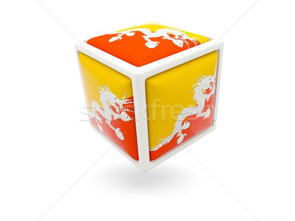 Bandeira Butão cubo ícone isolado branco Foto stock © MikhailMishchenko