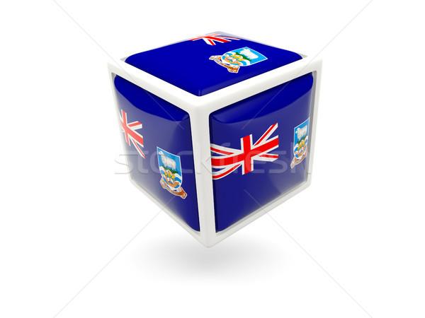 Zászló Falkland-szigetek kocka ikon izolált fehér Stock fotó © MikhailMishchenko