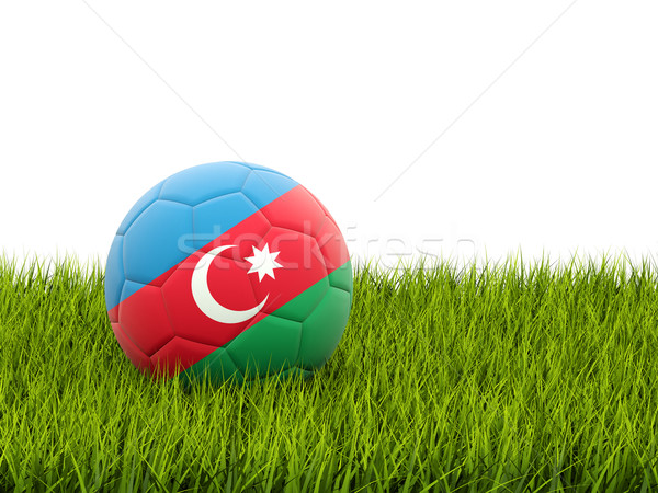 Voetbal vlag Azerbeidzjan groen gras voetbal veld Stockfoto © MikhailMishchenko