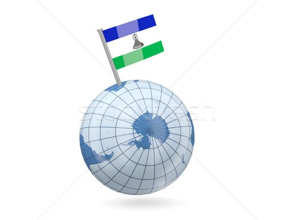 świecie banderą Lesotho niebieski odizolowany biały Zdjęcia stock © MikhailMishchenko