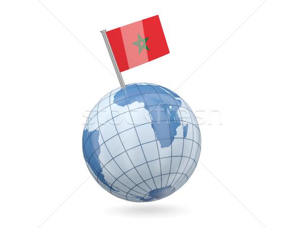 Földgömb zászló Marokkó kék izolált fehér Stock fotó © MikhailMishchenko