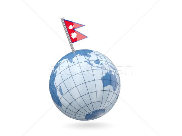 Globo bandeira Nepal azul isolado branco Foto stock © MikhailMishchenko