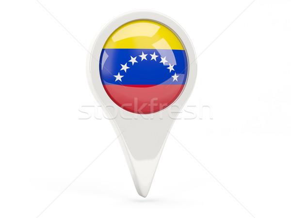 Zászló ikon Venezuela izolált fehér térkép Stock fotó © MikhailMishchenko