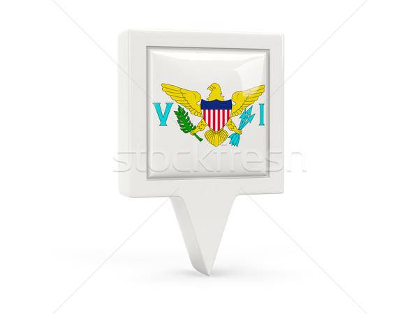 Vierkante vlag icon Virgin Islands geïsoleerd witte Stockfoto © MikhailMishchenko