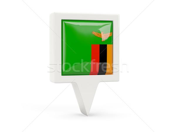 Stock fotó: Tér · zászló · ikon · Zambia · izolált · fehér