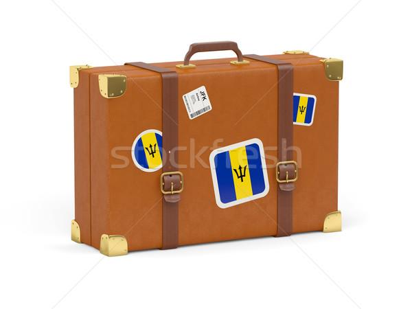 スーツケース フラグ バルバドス 旅行 孤立した 白 ストックフォト © MikhailMishchenko