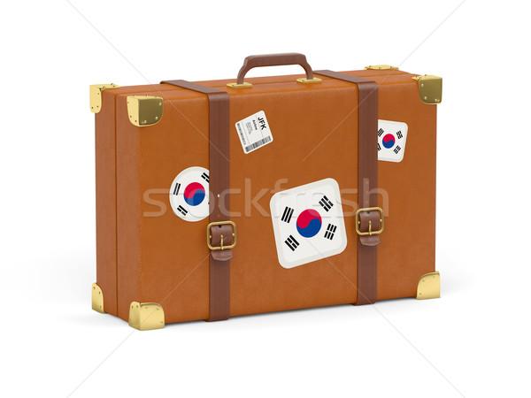 чемодан флаг Южная Корея путешествия изолированный белый Сток-фото © MikhailMishchenko