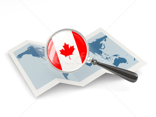 Magnified flag of canada with map Stock photo © MikhailMishchenko