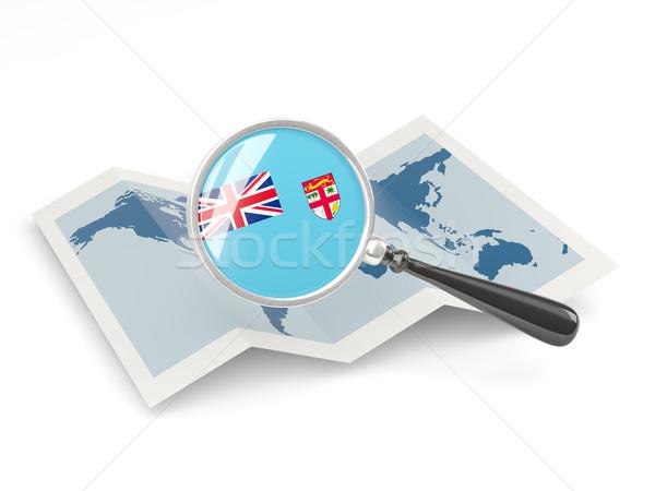 Nagyított zászló Fidzsi-szigetek térkép izolált utazás Stock fotó © MikhailMishchenko