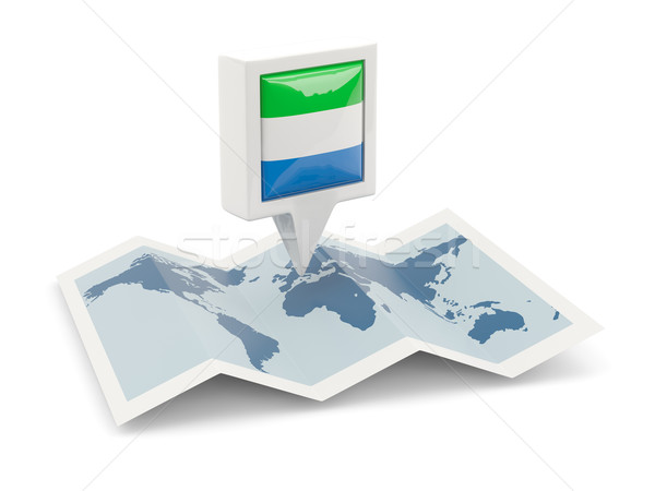 Square pin with flag of sierra leone on the map Stock photo © MikhailMishchenko