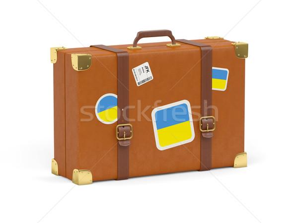 Bőrönd zászló Ukrajna utazás izolált fehér Stock fotó © MikhailMishchenko