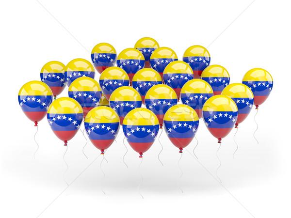 Stockfoto: Ballonnen · vlag · Venezuela · geïsoleerd · witte · land