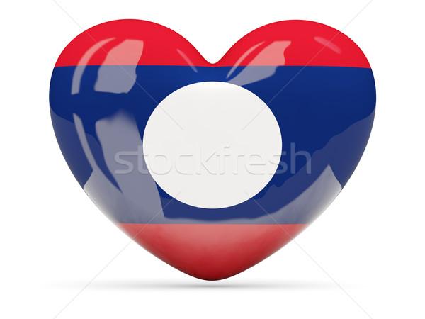 Hart icon vlag Laos geïsoleerd Stockfoto © MikhailMishchenko