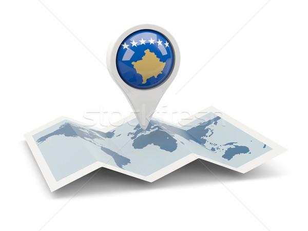 Pin bandeira Kosovo mapa viajar branco Foto stock © MikhailMishchenko