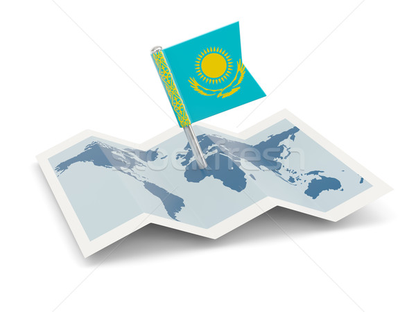 Térkép zászló Kazahsztán izolált fehér Stock fotó © MikhailMishchenko