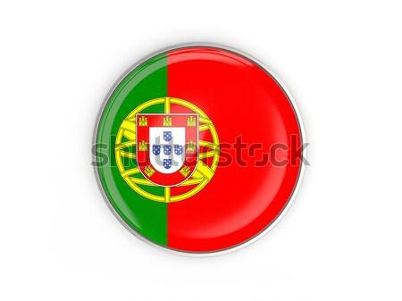 Düğme bayrak Portekiz Metal çerçeve seyahat Stok fotoğraf © MikhailMishchenko