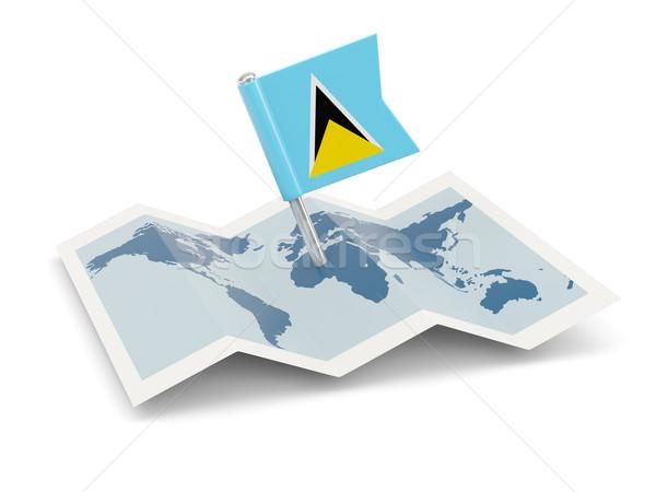 Map with flag of saint lucia Stock photo © MikhailMishchenko