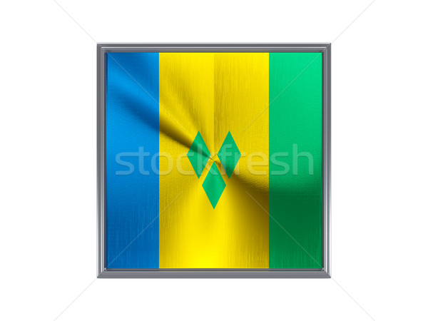 Square metal button with flag of saint vincent and the grenadine Stock photo © MikhailMishchenko