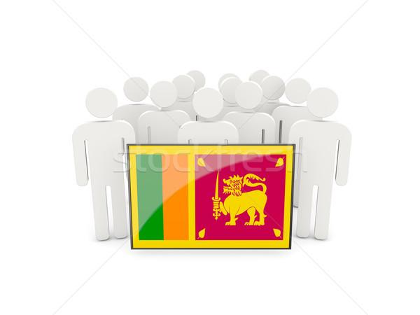 Emberek zászló Sri Lanka izolált fehér tömeg Stock fotó © MikhailMishchenko
