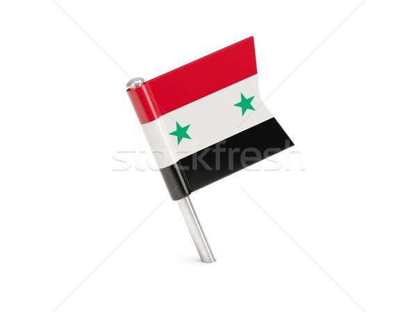Bandeira pin Síria isolado branco Foto stock © MikhailMishchenko