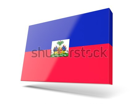 Bayrak etiket Haiti yalıtılmış beyaz imzalamak Stok fotoğraf © MikhailMishchenko