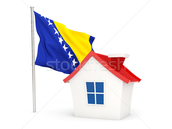 Casa bandera Bosnia Herzegovina aislado blanco Foto stock © MikhailMishchenko