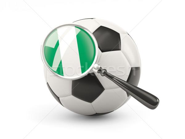 サッカー 拡大された フラグ ナイジェリア 孤立した 白 ストックフォト © MikhailMishchenko