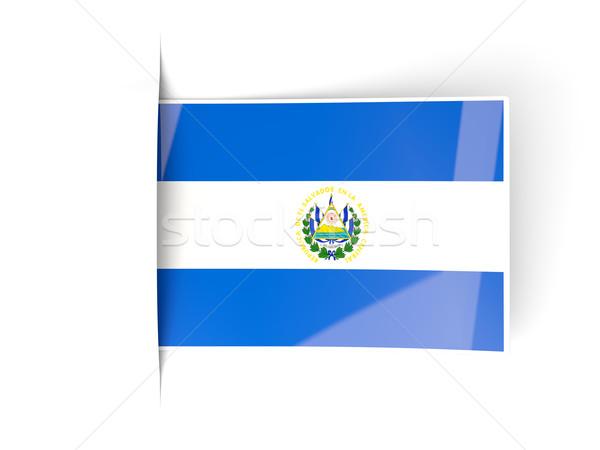 Praça etiqueta bandeira El Salvador isolado branco Foto stock © MikhailMishchenko